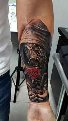 Gas mask rose tattoo