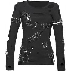 Black cotton shirt with holes and safety pins, from the gothic clothing for women collection by Queen of Darkness.