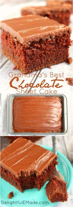 Super moist, chocolaty and completely delicious!  This decadent chocolate sheet cake is topped with a luscious chocolate icing making it my all-time favorite chocolate cake!  Once slice won't be enough!:
