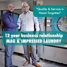mark dennis mag laundry equipment and geoff browne impressed laundry taking delivery of new industrial washing machines