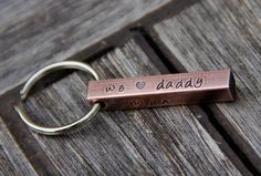 Cute Father's Day Idea - Custom Stamped 'We Love Daddy' Keychain  by theCopperPoppy, $17.00