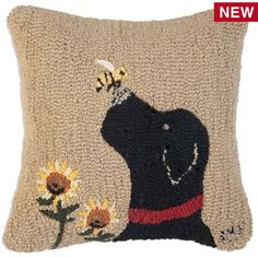 Chandler 4 Corners, Lab With Bee Hooked Wool Throw Pillow, a lovable Black Lab, a curious bee and two sunflowers decorate this pillow by designer Laura Megroz Rug Hooking Designs, Rug Hooking Patterns, Wool Pillows, Throw Pillows, Wool Rugs, Punch Needle Patterns, Needle Felting Tutorials, Hand Hooked Rugs, Penny Rugs