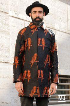 MFW: FERRAGAMO – men's bird print coat