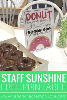 Spread Staff Sunshine at your school with this free printable!You can find Staff appreciation and more on our website.Spread Staff Sunshine at your school with this free. Staff Appreciation Gifts, Staff Gifts, Volunteer Gifts, Principal Appreciation, Teacher Appreciation Centerpieces, Employee Appreciation Messages, Gifts For Office Staff, Volunteer Ideas, Office Fun