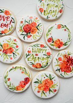 Spring, flowers, watercolor, floral, mother's day Sugar Cookie Frosting, Royal Icing Cookies, Sugar Cookies Recipe, Iced Cookies, Easter Cookies, Fancy Cookies, Christmas Cookies, Flower Sugar Cookies, Paint Cookies