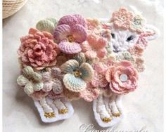 cute♥ crochet flower accessories by Lunarheavenly on Creema