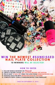 #BundleMonster will choose 10 lucky winners to receive the newest Sun Kissed Nail Plate Collection! Join the #giveaway to see how you can win! #nailart #nailstamping