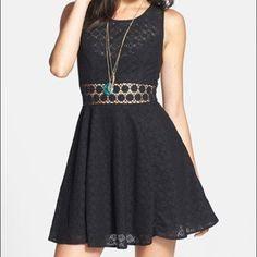 Free People Black Daisy Lace Dress Like New. Only wore once. Beautiful lace crochet lace dress Free People Dresses Midi
