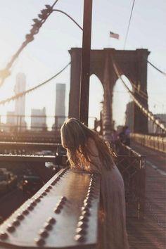 NYC. On the bridge, halfway between Brooklyn and Manhattan
