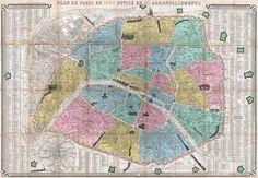 Map of Paris in 1863 Divided into Twenty Arrondissements, 1863