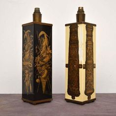 pair-of-retro-italian-lamps-by-piero-fornasetti-vintage-1950s A rare and beautiful pair of lamps by the famous Italian designer Piero Fornasetti. They are exquisitely decorated, and are a fantastic example of an extremely sought after artists work. These date from around the 1950's, and show some signs of wear, commensurate with age. The black lamp is in the better condition of the two, with only a few tiny chips here and there. This could be easily be restored, but we thought it wiser to…