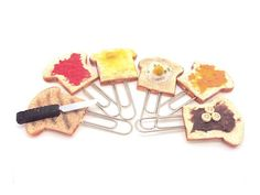 Food Miniature Paper Clips Breakfast Toasts by SmallIdea on Etsy