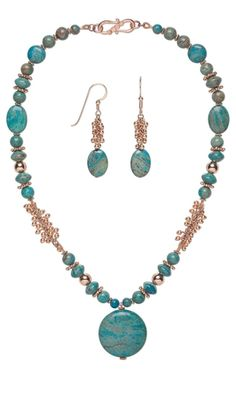 Single-Strand Necklace and Earring Set with Blue Sky Jasper Gemstone Beads and Copper Beads