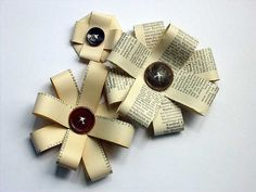 Paper and a button to create a flower-bow. Looks great on a brown paper bag-wrapped gift!