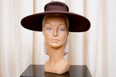 1940s Hat // Wide Brim Hat Brown Straw New York by GarbOhVintage