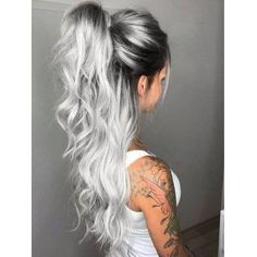 Middle Part Long Ombre Wavy Party Synthetic Wig Related Charming Long Blonde Hairstyles & Haircuts for 2018 - HaareGoals 2019 - HaareThe 15 Biggest Hair-Color Trends of 2019 - Substantive Pelo Color Gris, Icy Blonde, Blonde Roots, Grey Hair Dark Roots, Blonde Balayage, Dark Roots Light Ends, Light Blonde, Blonde Root Drag, Blonde Brunette Hair