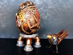my polymer clay steampunk egg and birdy. by vickie sixsmith