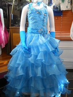 Turquoise long pageant dress