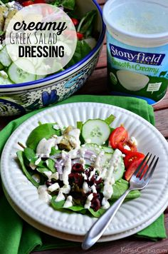 Creamy Greek Salad Dressing #StonyfieldBlogger