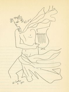 """Orpheus - From: """"Demarches d'un poète"""", 1930 Orpheus is a artistically talented, he sings and plays the lyre throughout Metamorphoses. Illustrations, Illustration Art, Classical Mythology, Greek Gods And Goddesses, Jean Cocteau, Black And White Abstract, Gay Art, French Artists, Line Drawing"""