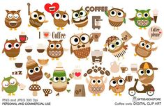 Coffee owls Digital clip art for Personal and Commercial use - INSTANT DOWNLOAD
