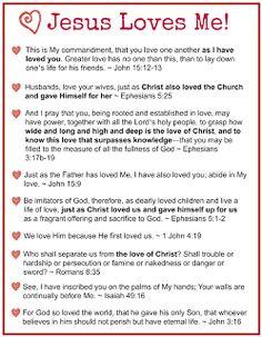 "Free Printable: ""Jesus Loves Me"" scriptures from Proverbial Homemaker."