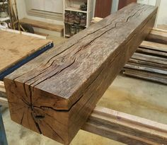 """7"""" x 9"""" barnwood beam I salvaged and turned into a mantle"""