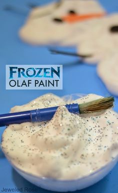 Frozen Olaf Paint- this paint is icy cold and dries puffy; the perfect recipe for painting Olaf. anything that has to do with frozen and getting a little messy is a sure fire way for the child to have a great time ehile their parents are away Frozen Slime, Olaf Frozen, Frozen Snowman, Frozen Birthday Party, Frozen Party, Winter Activities, Activities For Kids, Frozen Activities, Crafts To Do