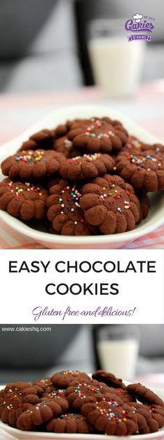 Easy Gluten free Chocolate Cookies Recipe - Brownzena.  An easy recipe for delicious, crunchy chocolate cookies you can make with your kids