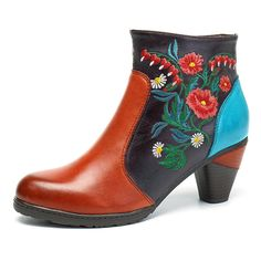 b3ff8b2a56 SOCOFY Retro Blossom Embroidery Pattern Zipper Ankle Leather Boots Vans  Shoes Women