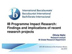 IB Programme Impact Research: Findings and implications of recent research projects