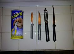 This is a fix that I am sure I am not the only one who has tried.  I wanted to be able to wash my RADA Knives that were only handwashable in the dishwasher.  I love my USA Made RADA knives and this idea was a winner.  I dipped them in the Plasti Dip found at most Hardware stores and let dry outside and now they are dishwasher ready.  The 1st knife is new only handwashed the 2nd washed in dw and the other two were dipped and have been washed at least 100 times.