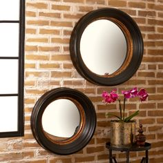 Antiqued Convex Mirrors Set of 2 by Tozai Home - Seven Colonial
