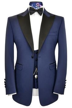 Oxford blue three piece satin peak lapel tuxedo dinner suit