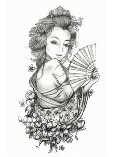 Geisha Tattoo For Woman Ideas Geisha Tattoos, Geisha Tattoo Design, Neue Tattoos, Body Art Tattoos, Sleeve Tattoos, Geisha Drawing, Geisha Art, Tattoo Girls, Girl Tattoos