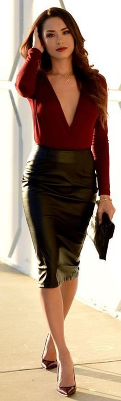 red blouse   leather skirt