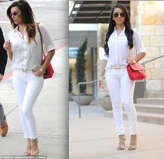 Maytedoll: Celebrity Inspired Outfit : Eva Longoria white with a pop of red.