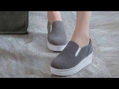 รองเท้าผ้าใบส้นหนา โลฟเฟอร์ผู้หญิงหนังกลับ นำเข้า ไซส์34ถึง39 สีเทา - พรีออเดอร์RB2289 ราคา1500บาท - YouTube