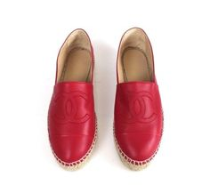 Chanel | Chanel Red Lambskin Leather CC Logo Espadrilles Shoes