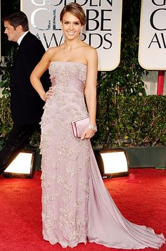 Jessica Alba at The Golden Globes 2012 in a pale lavender embroidered Gucci gown and Bulgari jewelry.