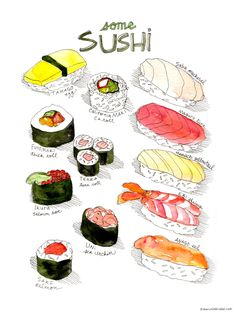 Types of Sushi Print by Marcella Art & Illustration. A hand drawn array of sushi, including the names of each type. L'art Du Sushi, Sushi Box, Sushi Drawing, Food Drawing, Food Illustrations, Illustration Art, Food Design, Food Painting, Pen And Watercolor