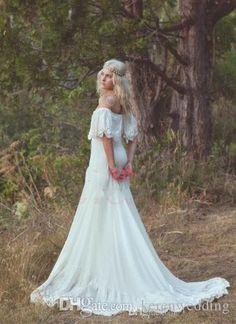 2015 Spring Beach Bohemian Wedding Dresses Long Chiffon Lace Off Shoulder Charming Princess A-line Bridal Gown Sweep Train Plus Size Gown WZ