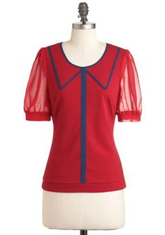 Academic Aesthetic Top - Mid-length, Red, Blue, Short Sleeves, Work, Casual