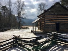 John Oliver's cabin dusted with snow on the Cades Cove Loop in the Great Smoky Mountains National Park.