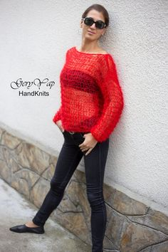 Hand knitted long hair mohair red lightweight womens sweater hand made boho style gift for her Loose Knit Sweaters, Boho Style, Hand Knitting, Boho Fashion, Gifts For Her, Sweaters For Women, Etsy Shop, Pullover, Long Hair Styles