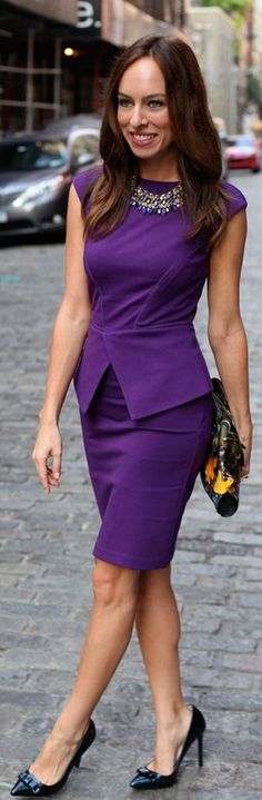 I would loooove to have a sheath dress such as this tailored to flatter my decidedly un-sheath-like proportions. Especially in this lovely shape. And this shade of purple.