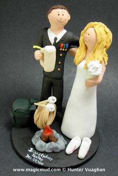 Beer Stein Wedding Cake Topper    Army, Soldier's, Military Wedding Cake Toppers custom created for you! Perfect for the marriage of an Army Marine Groom and his Bride!    $235   #magicmud   1 800 231 9814   www.magicmud.com
