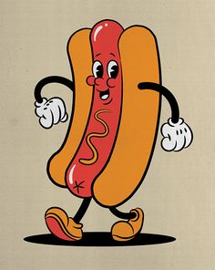 In today's Adobe Illustrator video tutorial we're going to have some fun creating a retro mascot character design of a hot dog, using inspiration from the How to Draw a Retro Mascot Character Design in Illustrator Retro Kunst, Retro Art, Retro Vintage, Design Vintage, Retro Design, Cartoon Kunst, Cartoon Drawings, Cartoon Art, Cartoons To Draw