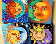 El sol y Luna - Digital imprimible Collage hoja de 12 X 4 pulgadas cuadrados para posavasos, tarjetas de felicitación, etiquetas de regalo.  Descarga inmediata #220.