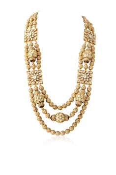 J16-230 - Pearl embedded gold plated jadau necklace. Highlighted with kundan embellished with meena work